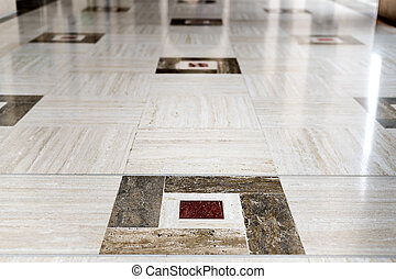 Marble floor Grand Sultan Qaboos Mosque - Marble floor of...