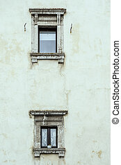 marble framed windows of old building, Pescocostanzo, Abruzzo, Italy