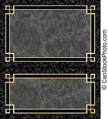 Marble Frames - Two Black Marble Backgrounds with Gold...