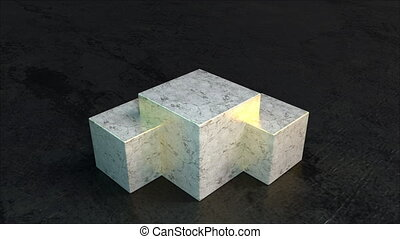 Triple square 3d render podium made natural stone for design presentations. Realistic sealed cubes with wavy light reflections floor. Luxurious layout for advertising elite products.