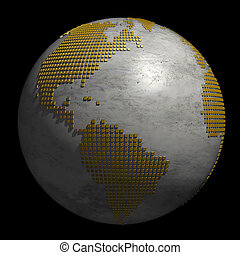Marble Globe with Continents made of Golden Dots - 3D Illustration