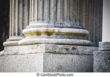 marble, Greek-style columns, Corinthian capitals in a park