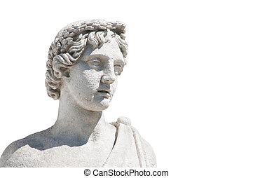 Marble head of antique statue isolated on white - Marble ...