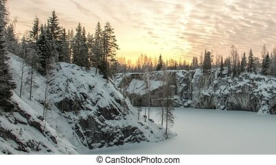 Marble kanyon in Ruskeala, Karelia in winter, Russia -...