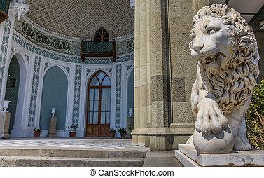 Marble lion at the Vorontsov Palace near  Alupka, Ukraine