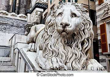 Marble Lion Guarding Cathedral of Saint Lawrence (Lorenzo)...
