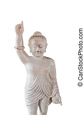 Marble little Buddha statue on a white background.