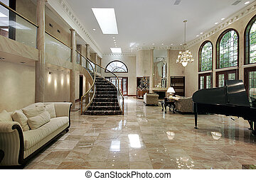 Huge great liviing room with marble floors