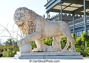 marble medici lion near Vorontsov (Alupka) Palace, Crimea