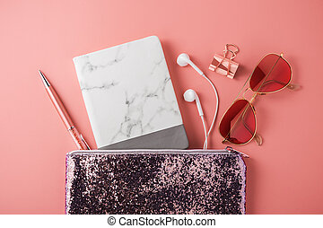 Marble notebook with sunglasses in fashion glitter bag