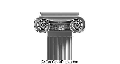 Marble pillar column classic greek isolated against white background. 3d illustration