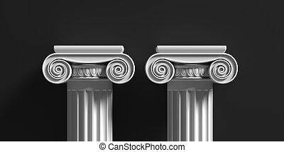 Marble pillars columns classic greek against black background. 3d illustration