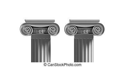 Marble pillars columns classic greek isolated against white background. 3d illustration