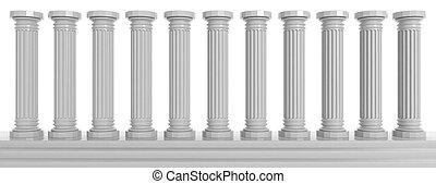 Marble pillars on white background. 3d illustration