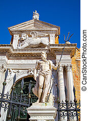 Poseidon in front of entrance to the Venetian Arsenal, -...
