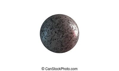 Marble sphere with smooth surface, computer generated. 3d rendering rotation of round stone. Abstract background