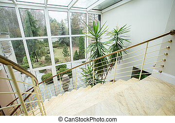 Marble staircase inside expensive house