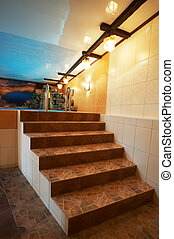Marble stairs at pool in modern hotel