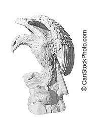 statue of an eagle on a white background