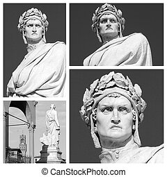marble statue of  Dante Alighieri collage, his Divine Comedy is
