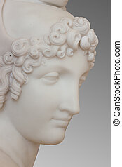 Marble statue on gray background with clipping path