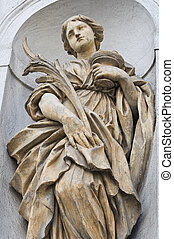 Marble statue. St. Lucia Church. Parma. Emilia-Romagna. ...