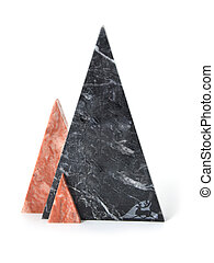 Marble triangles on a white background