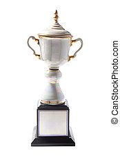 Marble trophy isolated on white background. Winning awards