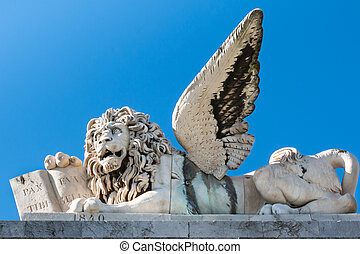 marble winged lion sculpture