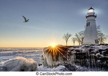 Marblehead Lighthouse Winter Sunrise