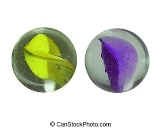 Marbles - Coloured glass marble spheres toy isolated on...