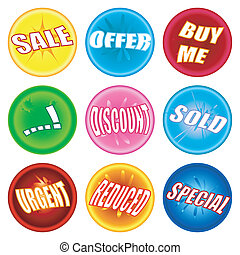 A collection of nine marbles stroke buttons with sale and retail information