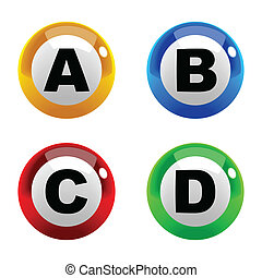 A set of marbles font type, letter A to D