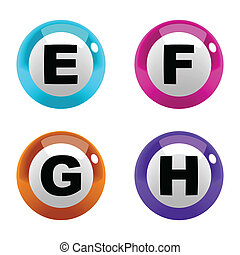 A set of marbles font type, letter E to H