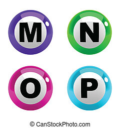 A set of marbles font type, letter M to P