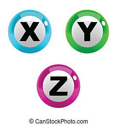A set of marbles font type, letter X to Z