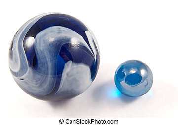 Marbles in orbit. - Close and low level angle of a large ...