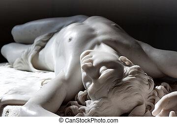 marbre, statue, de, abel