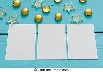 marbres bleus, bois, image, haut, fond jaune, fin