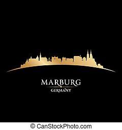 marburg, ドイツ, 都市 スカイライン, シルエット, 黒い背景