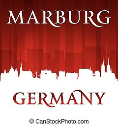 Marburg Germany city skyline silhouette red background