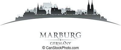 Marburg Germany city skyline silhouette white background