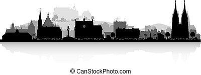 marburg, skyline przedstawią w sylwecie, niemcy, miasto