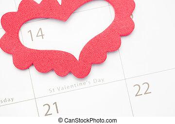 marcação, calendário, valentines, coração, dia, cor-de-rosa