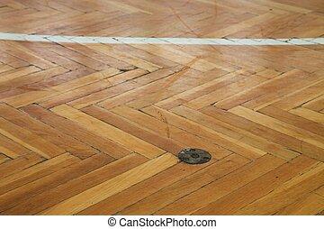marcação, coloridos, chão, madeira, linhas, gasto, esportes,...