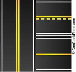 marcação, estrada, amarela