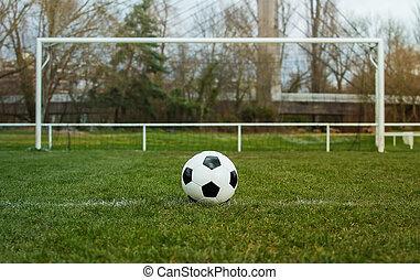 marcação, livre, futebol, antes de, futebol, frente, relvar, bola, gate., linha, tradicional, estádio, goal., capim, pontapé, típico, verde