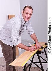 marcação, madeira, carpinteiro