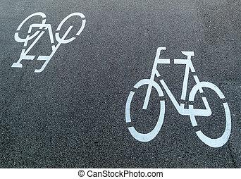 marcação, um, rota ciclo