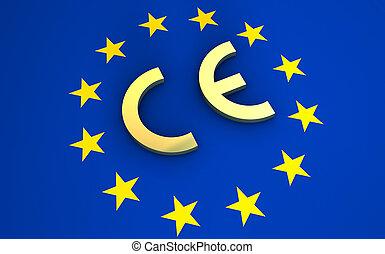 marcação, união, símbolo, ce, bandeira, europeu